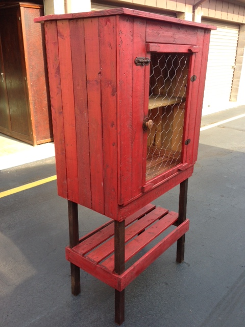 Red Farmhouse style primitive looking pie safe cabinet