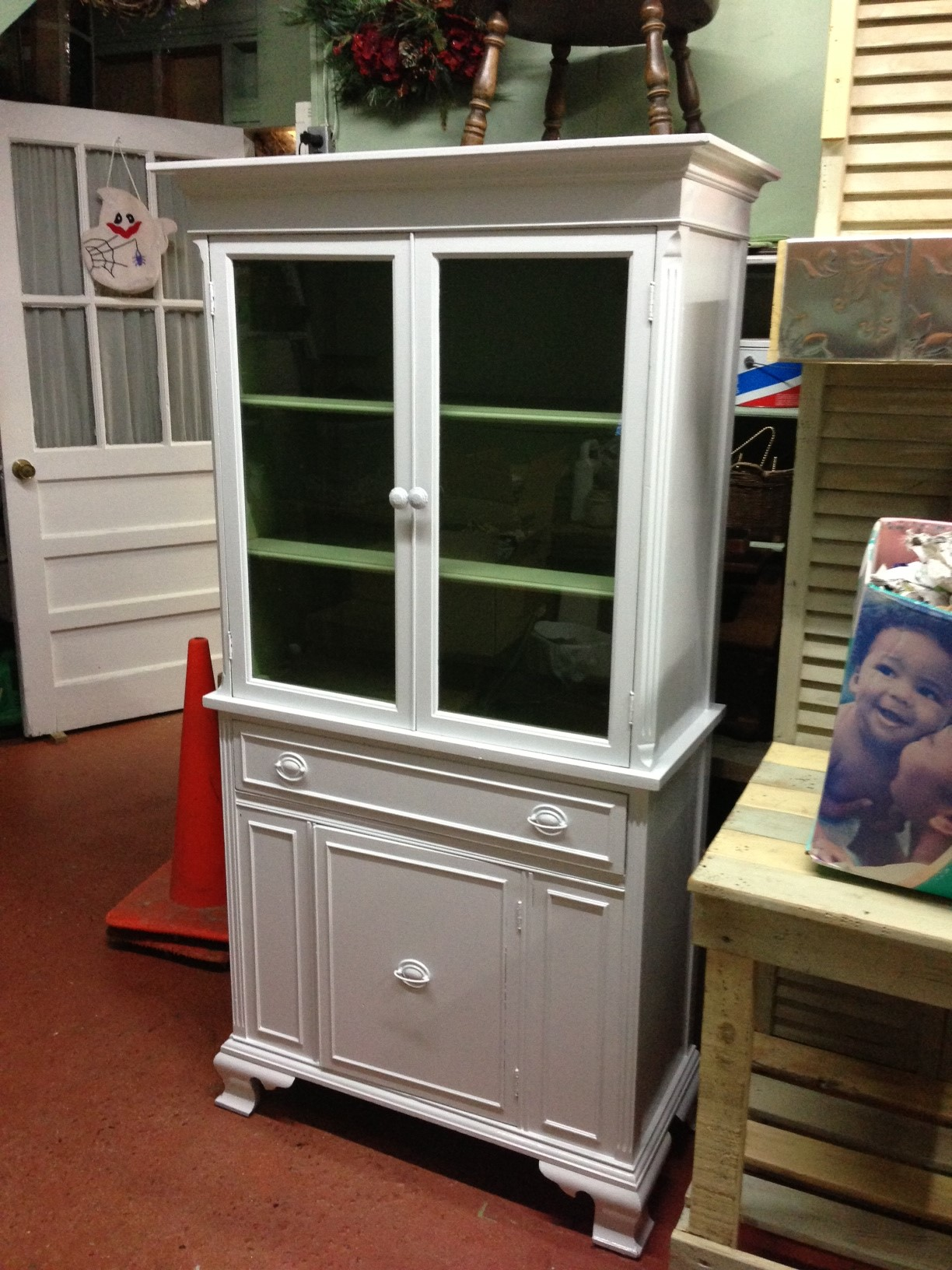 Vintage mahogany china cabinet with modern makeover!!
