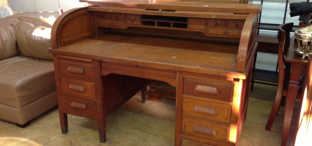 Desk Roll Top Secretary Wood