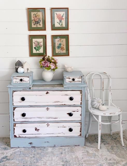 chest dresser chalk paint drawers vintage antique